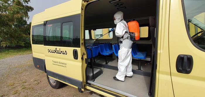 Sanificazione scuolabus Piedimonte Etneo